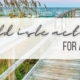Photo of a dock on the water in Emerald Isle with the blog title over it